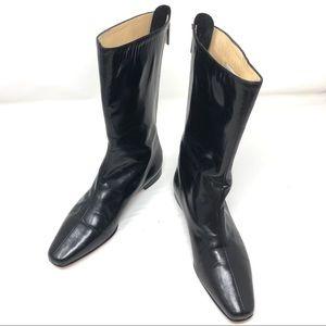 Like🆕 MANOLO BLAHNIK black leather mid-calf boots